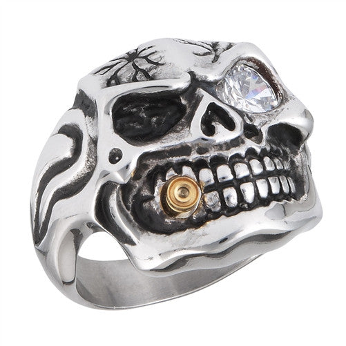 Stainless Steel Skull Ring with Gold IP Bullet and Clear CZ