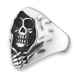 Stainless Steel Shrouded Skull Ring