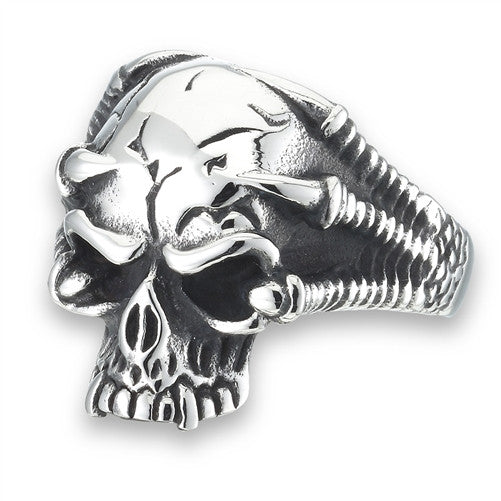 Stainless Steel Skull Ring with Talons