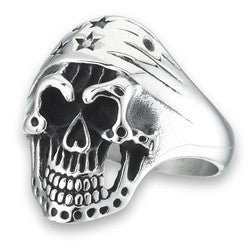 Stainless Steel Skull Ring with Stars & Stripes Bandana