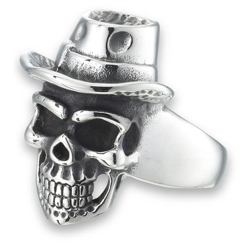 Stainless Steel Skull Ring with A Hat
