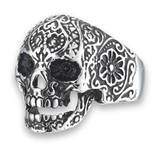 Stainless Steel Skull Ring with Flowers