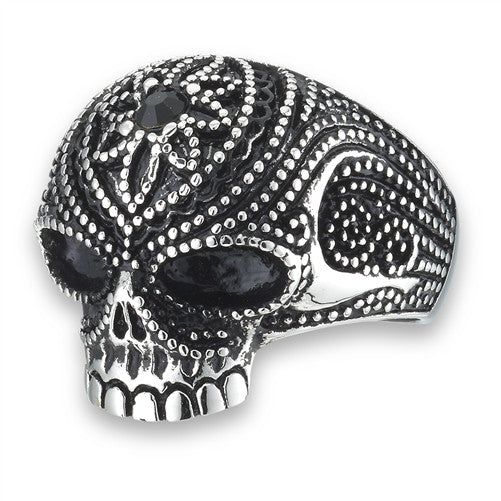 Stainless Steel Skull Ring with Black CZ