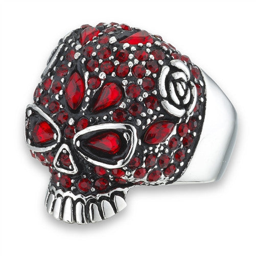 Stainless Steel Skull Ring Encrusted with 50+ Red CZ