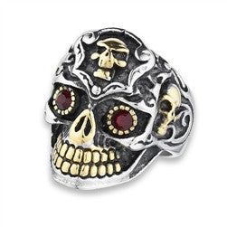 Stainless Steel Skull Ring with Red CZ and Gold IP