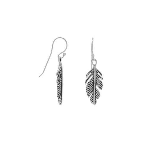 Sterling Silver Oxidized Feather Earrings