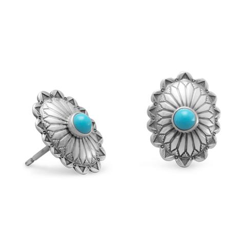 Sterling Silver Turquoise Concho Stud Earrings