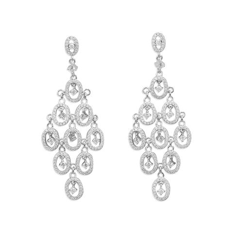 Sterling Silver Rhodium Plated CZ Oval Chandelier Earrings