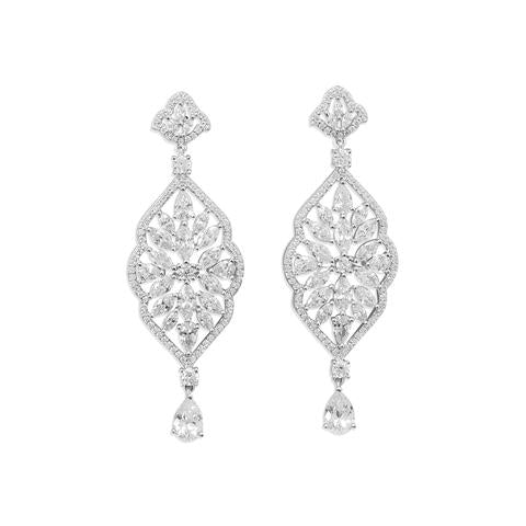 Sterling Silver Rhodium Plated Marquise CZ Dangle Earrings