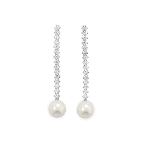 Sterling Silver Rhodium Plated CZ And Simulated Pearl Drop Earrings