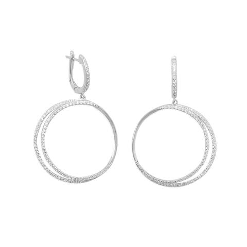 Sterling Silver Rhodium Plated Edipse CZ Hoop Earrings