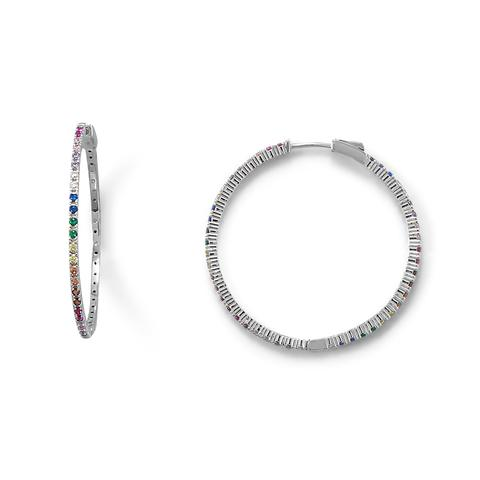 Sterling Silver Rhodium Plated Multi Color CZ Click Hoop Earrings
