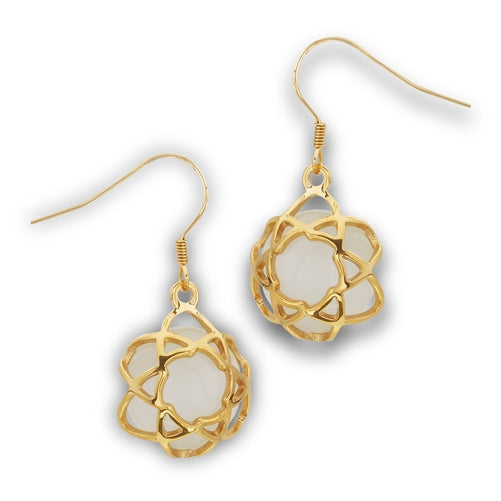 Stainless Steel Gold IP Earring With Synthetic White Cat's Eye