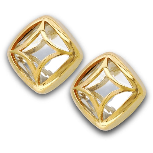 Stainless Steel Gold IP Stud Earrings With Faceted Glass