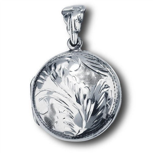 Sterling Silver Etched Round Locket
