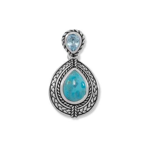 Sterling Silver Blue Topaz And Turquoise Pendant