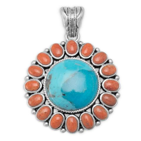 Sterling Silver Turquoise and Coral Sunburst Pendant