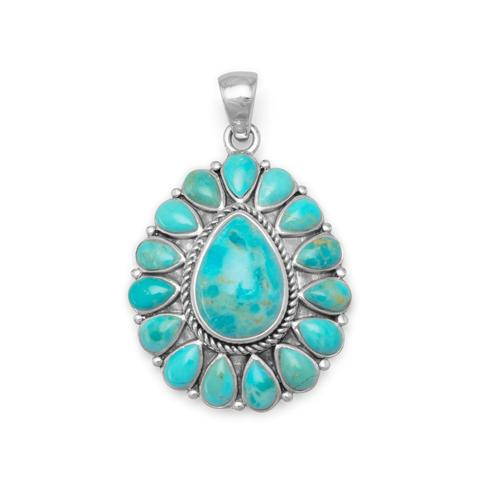 Sterling Silver Pear Shape Turquoise Pendant