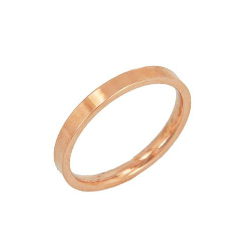Stainless Steel Rose Gold Flat Plain Ring