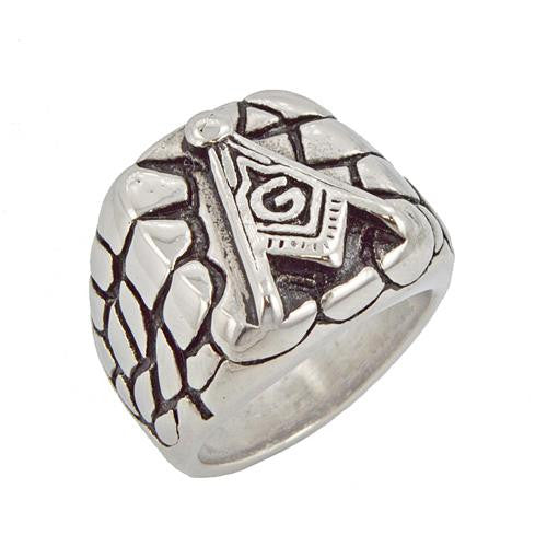 Stainless Steel Masonic Nugget Ring