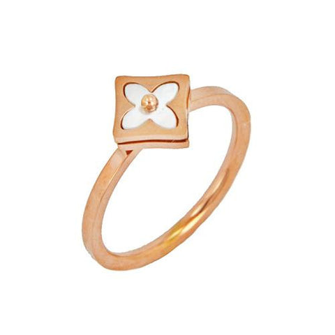 Stainless Steel Rose Gold Mother of Pearl CZ Ring
