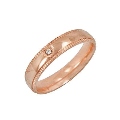 Stainless Steel Rose Gold CZ Ring