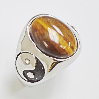 Stainless Steel Tiger Eye Stone Ying and Yang Ring