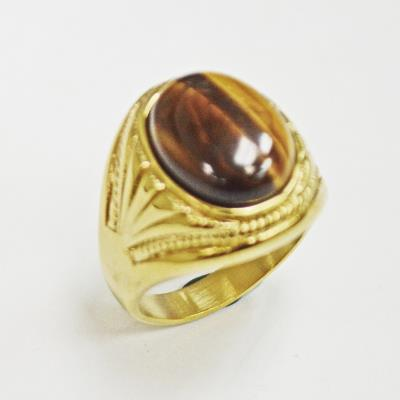 Stainless Steel Gold Tiger Eye Ring