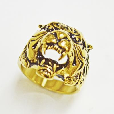 Stainless Steel  Gold Tiger Head Face Ring