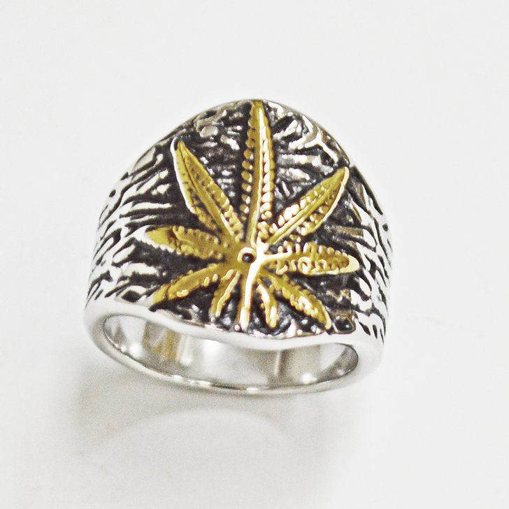 Stainless Steel Two Tone Leaf Ring