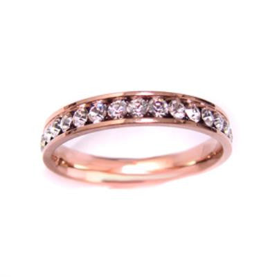 Stainless Steel Rose Gold Eternity Ring