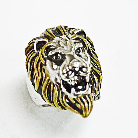 Stainless Steel Lion Head Ring-2Tones