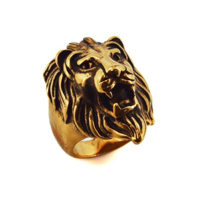 Stainless Steel Lion Head Ring-Gold