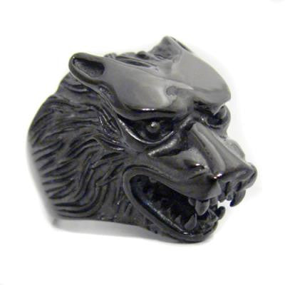Stainless Steel Black Wolf Ring
