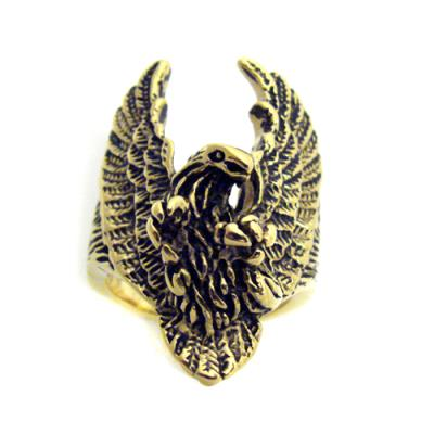 Stainless Steel High Polish Gold Eagle Ring