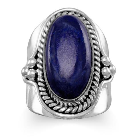 Sterling Silver Oxdized Lapis Ring