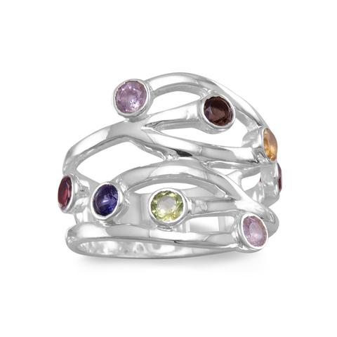 Sterling Silver Multistone Open Design Ring