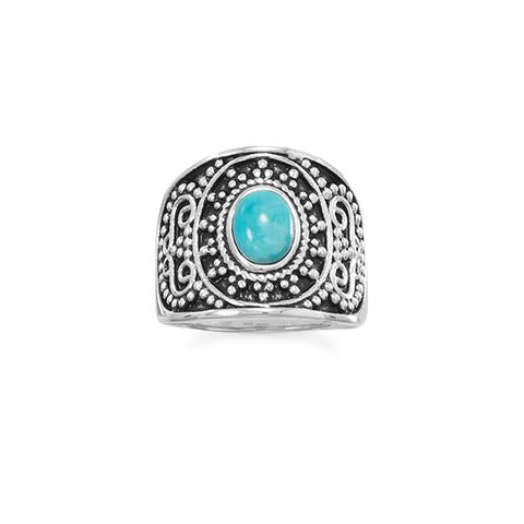 Sterling Silver Beaded Design Turquoise Ring