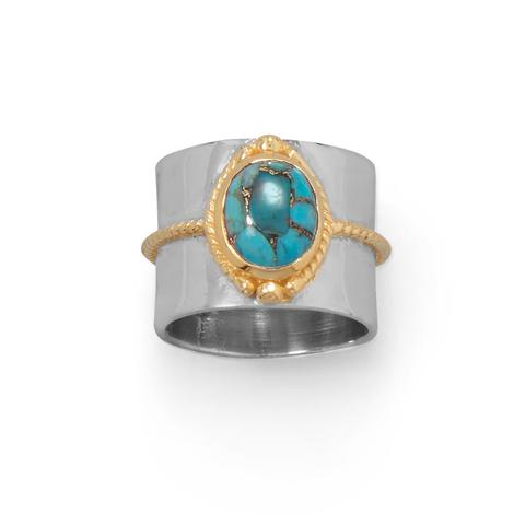 Sterling Silver Two Tone Rope Turquoise Ring