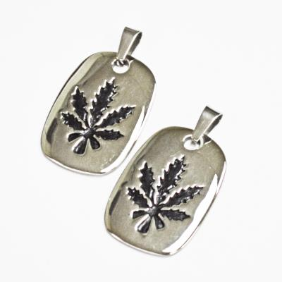 Stainless Steel Dog Tag Leaf Pendant