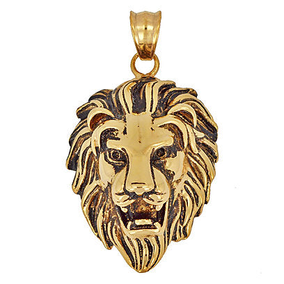 Stainless Steel Gold Lion Head Pendant Necklace