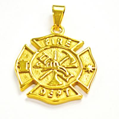Stainless Steel Gold Fire Fighter Pendant