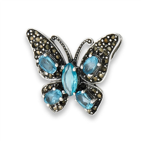 Sterling Silver Marcasite Butterfly Slide Pendant with Synthetic Blue Topaz