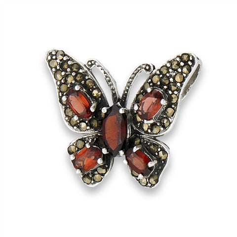 Sterling Silver Marcasite Butterfly Slide Pendant with Synthetic Garnet