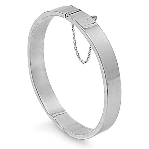 Sterling Silver Rectangle Bangle Bracelet with Chain