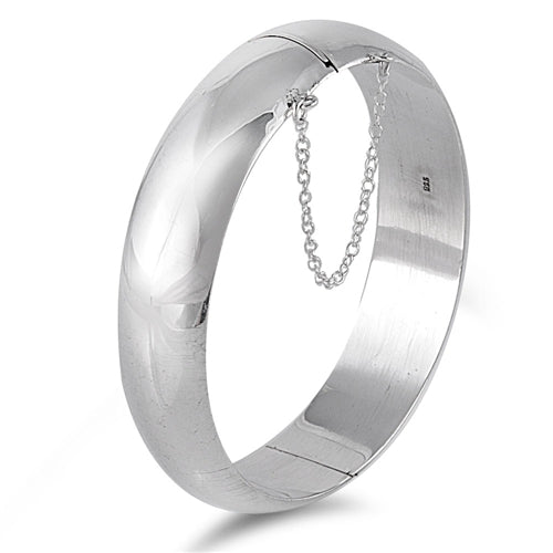 Sterling Silver Round Bangle Bracelet with Chain