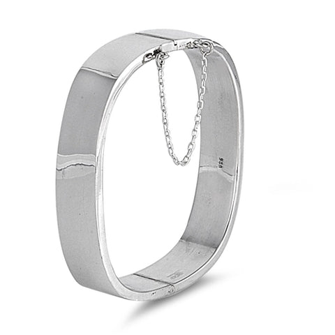 Sterling Silver Rectangle Shape Bangle Bracelet with Chain