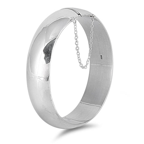 Sterling Silver Oval Shape Bangle Bracelet with Chain