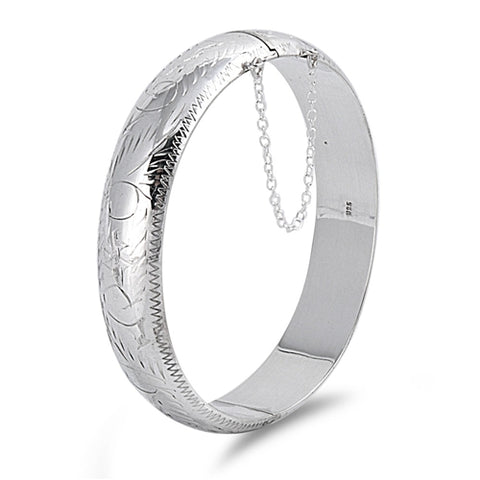 Sterling Silver Oval Shape Bangle Bracelet