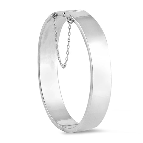 Sterling Silver Round Shape Bangle Bracelet with Chain